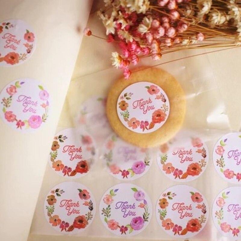 120pc Flower Thank You Ellipse Sealing Label Adhesive Kraft Paper Seal Sticker