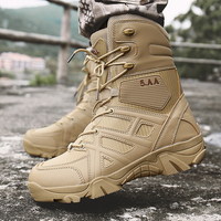Boots Men Military Shoes Size 39 47 Army Boots Men Military Boots Hard wearing Spring Shoes Men PU Leather Black Khaki Sneakers