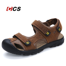 Good Quality Daily Walking Men's Sandals,Summer Cool Slippers,Soft Comfortable Genuine Leather Beach Shoes Large Size 11 MRCCS