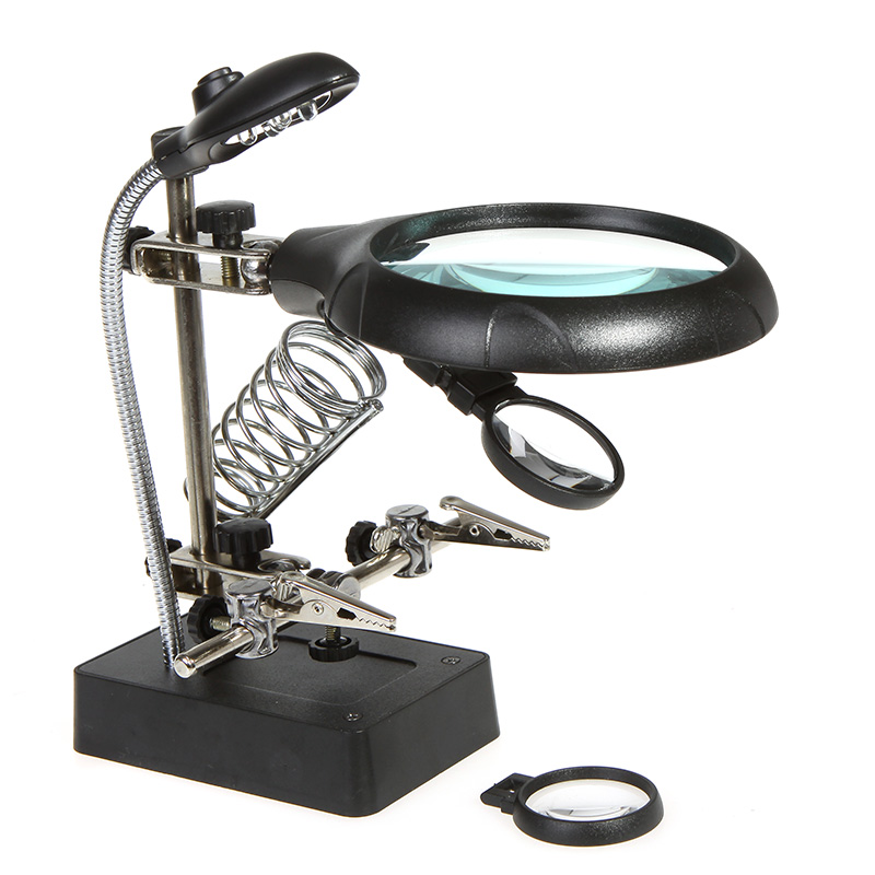 2.5X 7.5X 10X Lens Welding Magnifying Glass 5 LED Light Desktop Magnifier with Clamp Solder Stand Repair Tool for PCB Detection new universal desktop magnifier usb with led light 10x for maintenance reading micro engraving magnifying glass