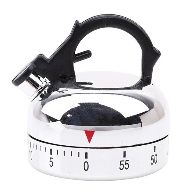 Nouveau 60 minutes Cuisine minuterie alarme mécanique théière en forme minuterie horloge comptage Minuteur Cuisine bouilloire style horloge minuterie 2