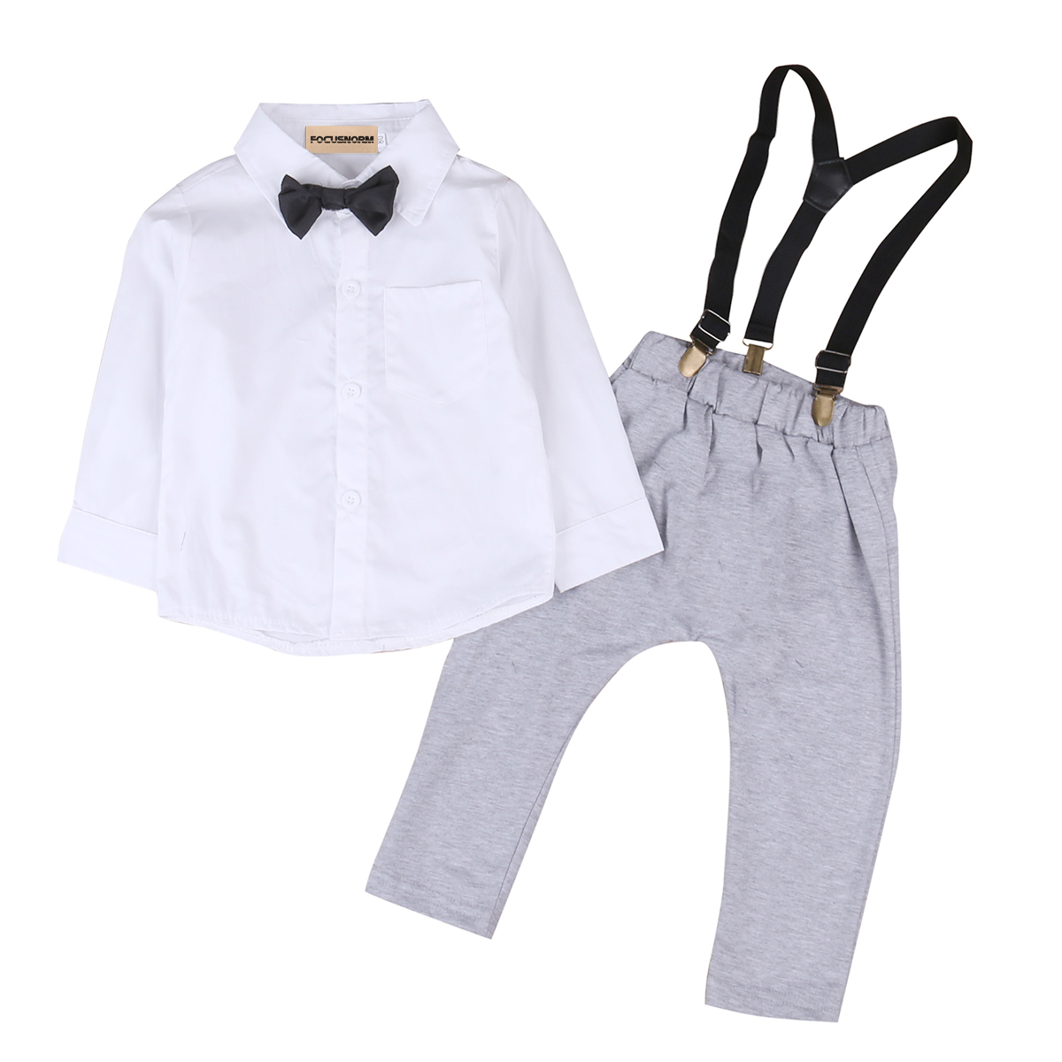 Toddler Kids Baby Boys Outfits Bow Tie Long Sleeves Solid Shirt Tops+Suspenders Long Pants Overalls Clothes Set 0-24M