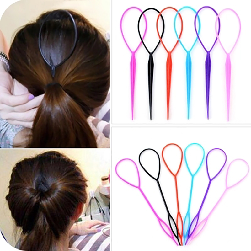 Us 0 62 10 Off Plastic Hair Loop Styling Tool Ponytail Bun Maker Hair Bun Maker Clip Hair Braid Accessories For Women Hairstyles In Hair Clips