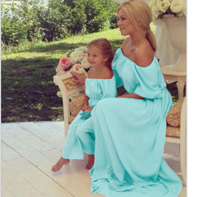 d101c9097640 2019 Summer Family Dresses Matching Mother Daughter Clothes Bohemia Maxi  Dress Beach long Dress Strapless Family Look Clothes