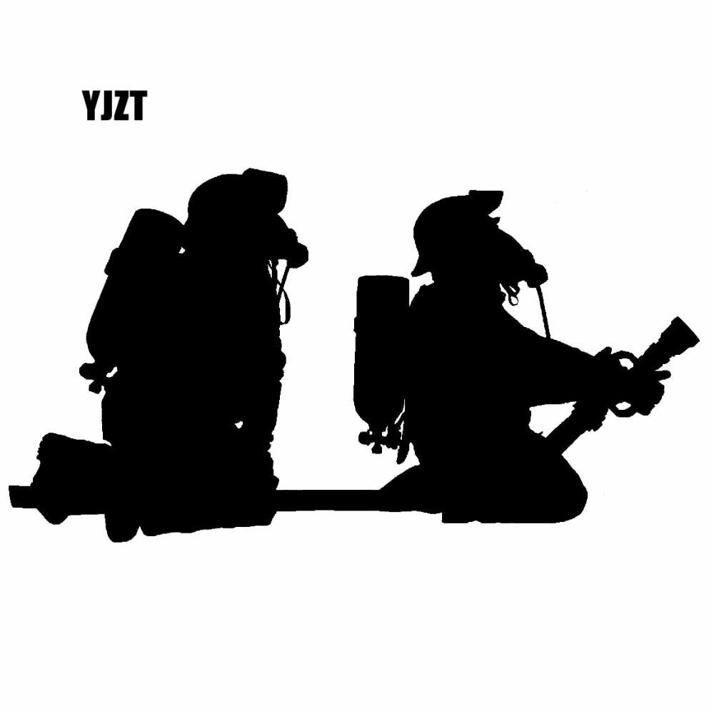 YJZT 17.2X9.1CM Cartoon FIREFIGHTER HOSEPIPE FIRE Vinyl Decal Black/Silver Car Sticker Fun Car-styling S8-1362 tinyville town i m a firefighter