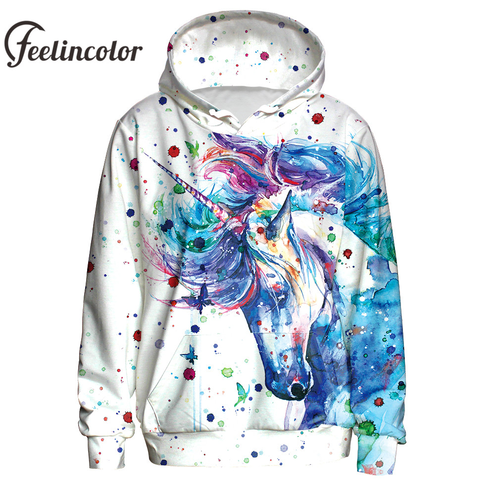 Feelincolor Unicorn Hoodies Men 3D Printed Watercolor ink Sweatshirt Hoodie Hiphop Unisex Colorful Pullovers