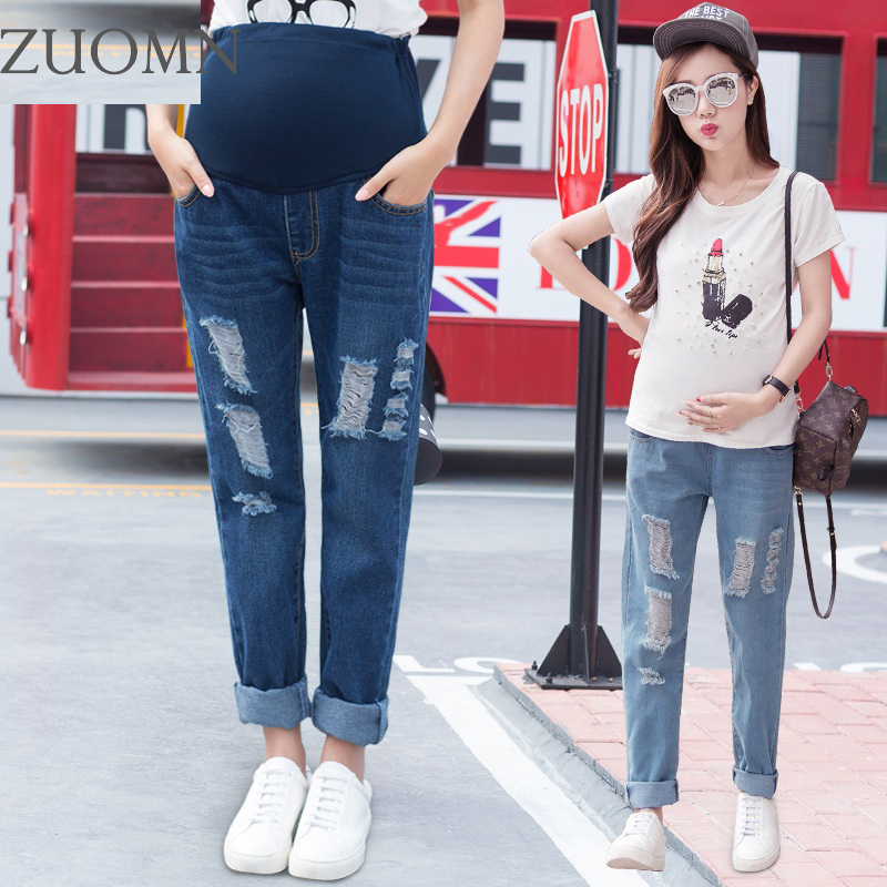 Maternity Boy Friend Jeans Pregnancy BF Large Size Pants Maternity Women Loose Trousers Pregnant Hole Boyfriend Jean YL501 new jeans female large size loose nine pants pants stripes wide leg pants was thin jeans