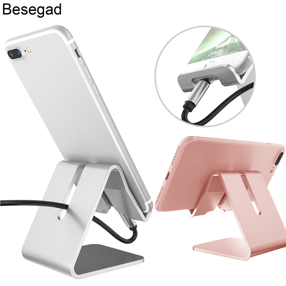 Besegad Universal Mobile Phone Tablet Table Desk Holder Desktop Support Stand Dock for Samsung Huawei iPhone X 10 8 7 6 6S Plus