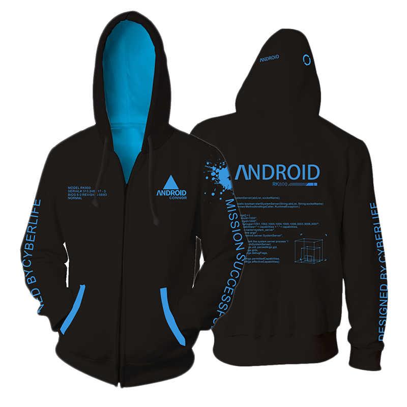 3D Gedruckt Hoodie Spiel Detroit: Sich Menschliches RK800 Connor Cosplay Zip Up Hooded Unisex Jacke Sweatshirt Hoody Streatwear Mantel