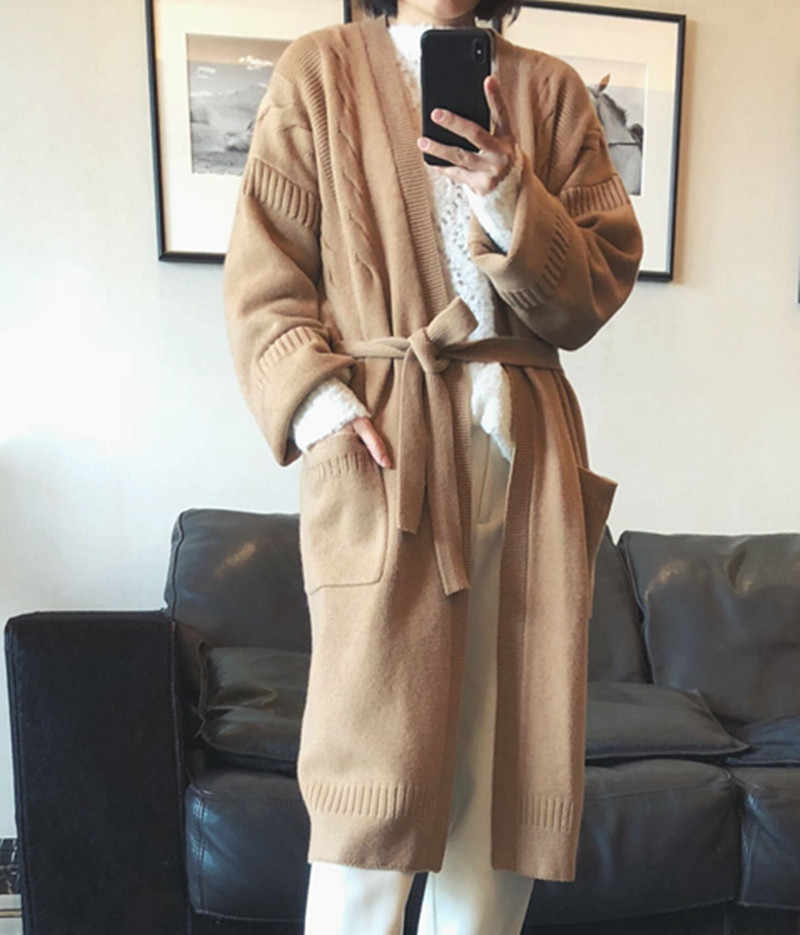 100% pure cashmere sweater cardigan 18 spring and autumn high end women's wear full belt cardigan cardigan coat