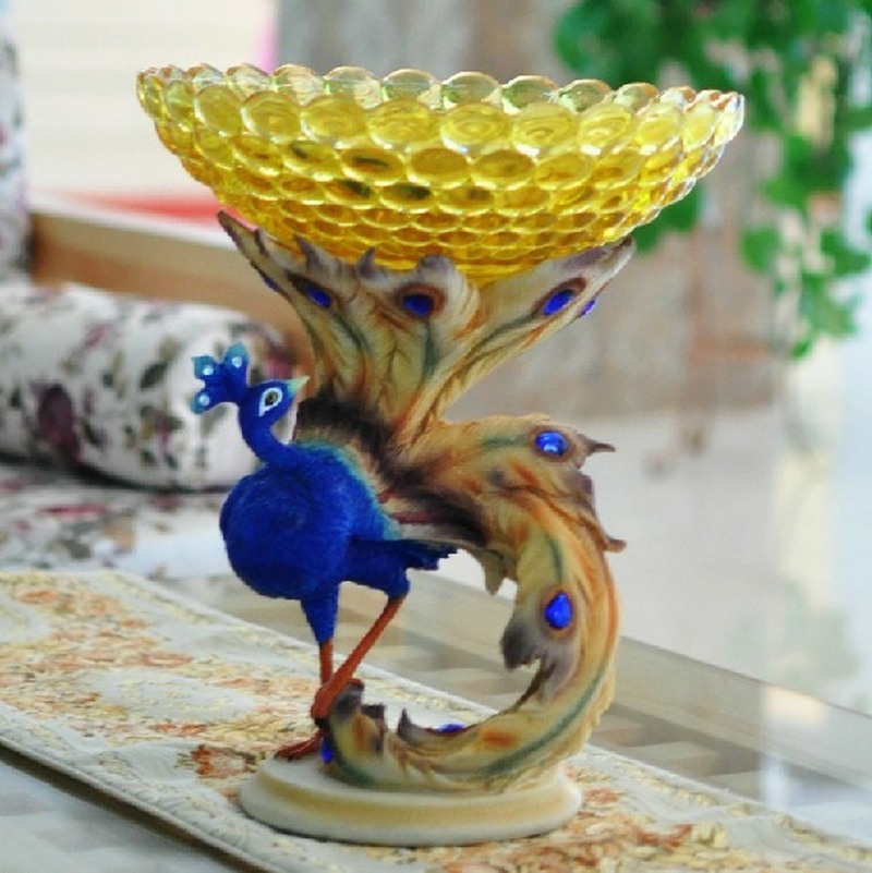 Manufacturer direct selling peacock crystal glass fruit dish hotel tableware decorative snacks candy bowl wedding gift