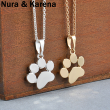 Fashion Cute Pets Dogs Footprints Paw Chain Pendant Necklace Necklaces & Pendants Jewelry for Women Sweater necklace QW56