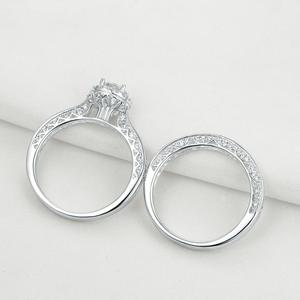 Image 4 - Newshe 2 Pcs Halo Wedding Ring Set Solid 925 Sterling Silver 1.6 Ct Round AAA CZ Classic Jewelry  Engagement Rings For Women