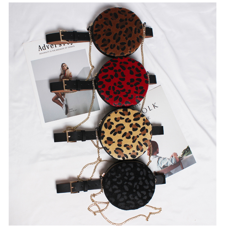 Leopard Print Wasit Bag Woman Belt Bag Round Fanny Pack For Women Chest Bag Bum Purse Shoulder Bags Crossbody Pochete Feminina