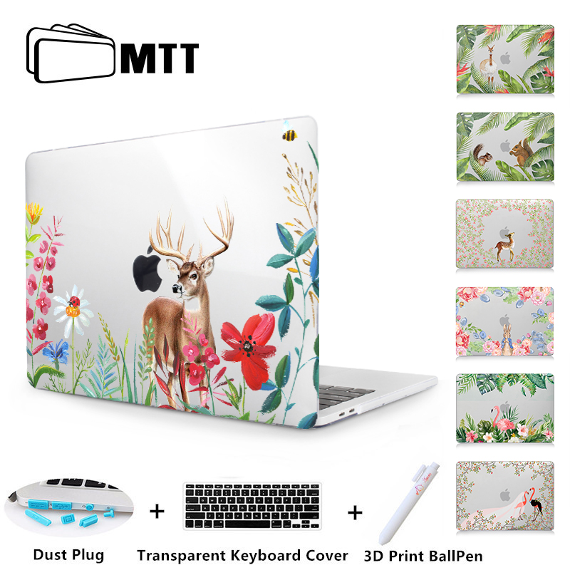MTT Flowers Animal Laptop Case For Macbook Air Pro Retina 11 12 13 15 Touch bar Cover for macbook 2018 New Pro 13 15 inch A1989 new leather sleeve protector bag stand cover for macbook air 13 pro retina 11 12 13 15 laptop case for macbook pro 13 touch bar