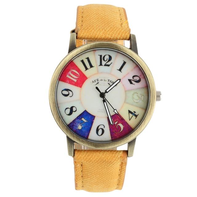 Cartoon 40mm Colorful Dial Golden Round Watch Shell Date Quartz Canvas Belt Stra