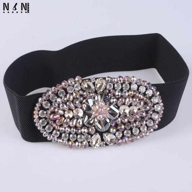 The new super flash diamond inlaid elastic model of female waist belt crystal decoration coat jacket fur fashion accessoriesV326