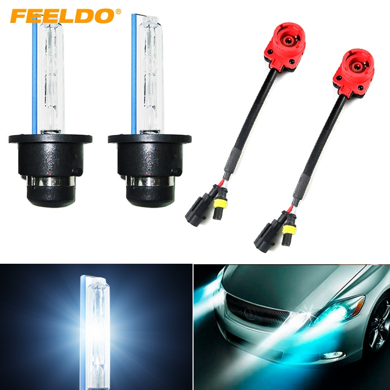 FEELDO 2Pcs Car Auto 35W D2S Xenon HID Bulbs 4300K-12000K + 2pcs Adapters Replacement Bulbs #FD-2078 цена 2017