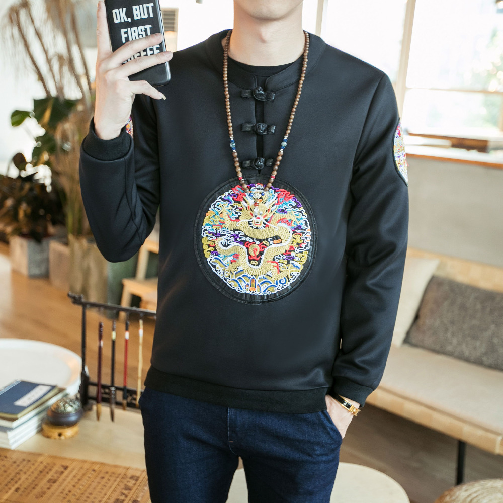 Spring New Sweatshirt Men Pan Kou Chinese Style Mens Casual Hoodies Round Collar Plus Size Embroidery Pullover Track Suits 5XL-M