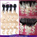 Brazilian Virgin Hair With 13x4 Lace Frontal Body Wave 4pcs +1 Human Hair Bundles With Frontal 1b/613 Two Tone Ombre Blonde Hair