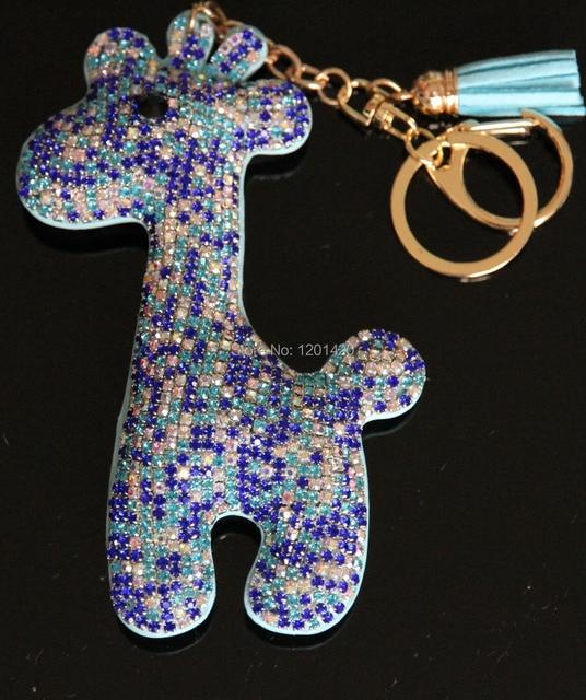Bling charms mujeres bolso, piedras de color bling de la jirafa llaveros glitter monedero de la cartera de los encantos encantos hechos a mano llavero