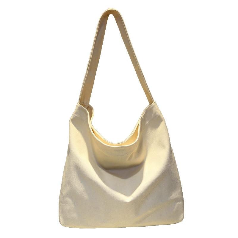 Canvas Shoulder Bag Pure Color Large Capacity Travel Women Shopping Bag Messenger Tote Handbag