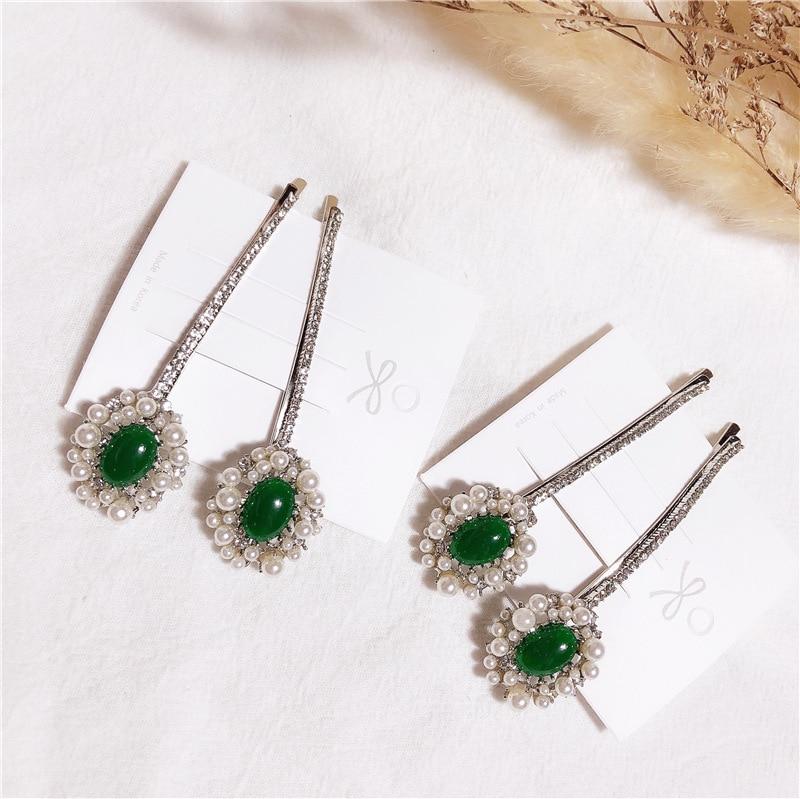 Korea Fashion Emerald Hair Clip Barrettes For Women Girls Luxurious Rhinestone Pearls Alloy Hair Clips Hairpins Hair Accessories