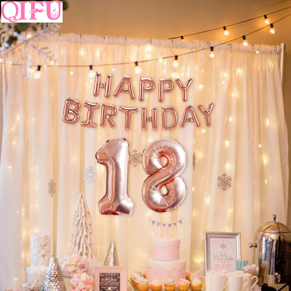 QIFU 32 Inch Happy 18 Birthday Balloons Rose Gold 18th Party Decorations Adult Years