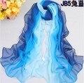 Bonito Pañuelo de Gasa Mujeres de Alta Calidad de seda del georgette Gradual colores gasa mantón de las bufandas de diseño largo femenino