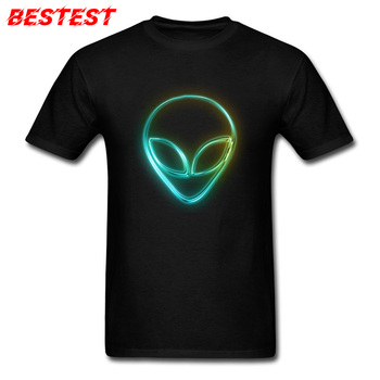 Comics Tshirts Alien Neon T Shirt Men Black T-shirts Geek Logo Design Clothes For Students 100% Cotton Tops Family Tees 3D
