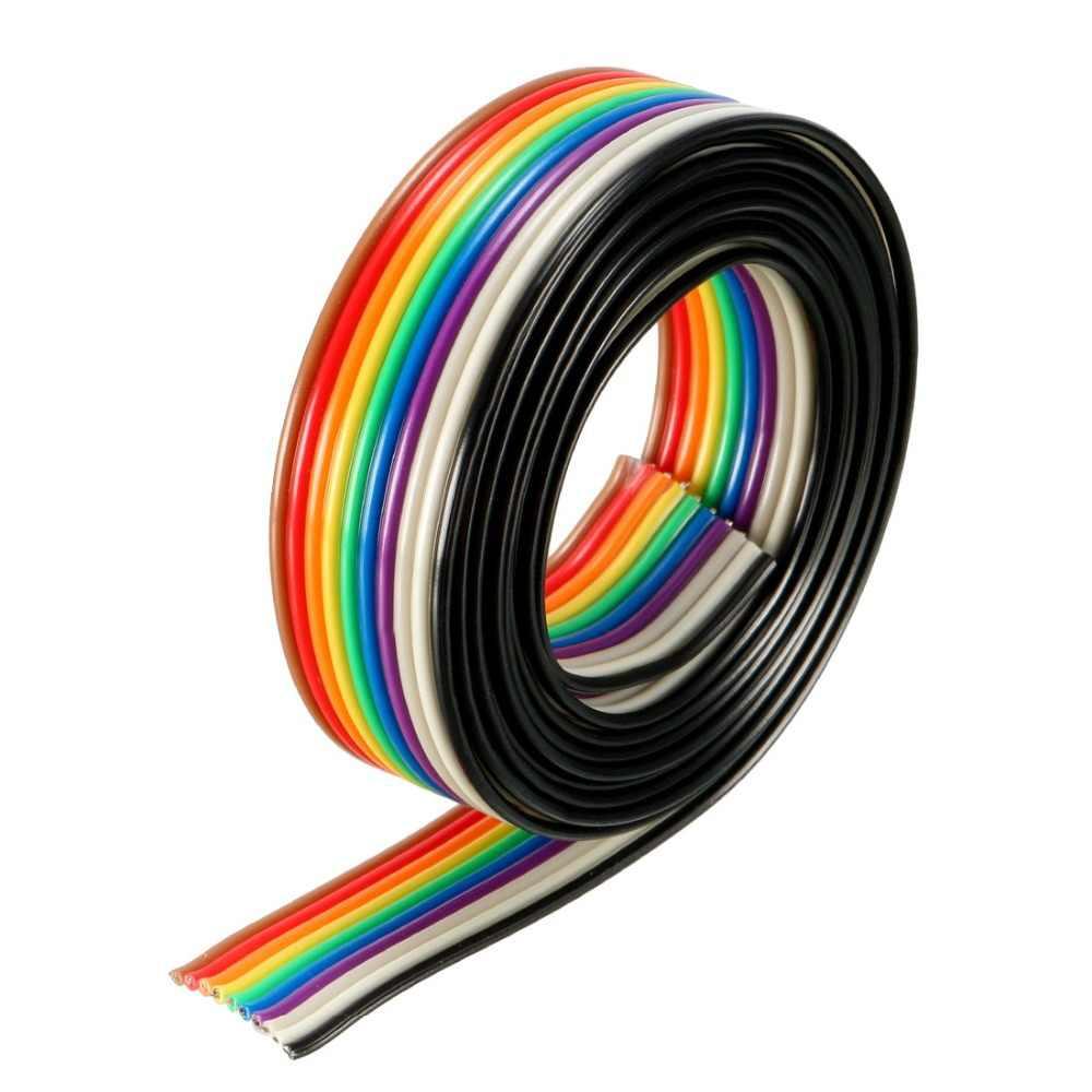 UXCELL 1M 5M 3 metry kolor tęczy 10 pinów kabel mostkujący wstążka kabel płaski 1.27mm Pitch 1.3mm średnica drutu drut miedziany drut wstążkowy