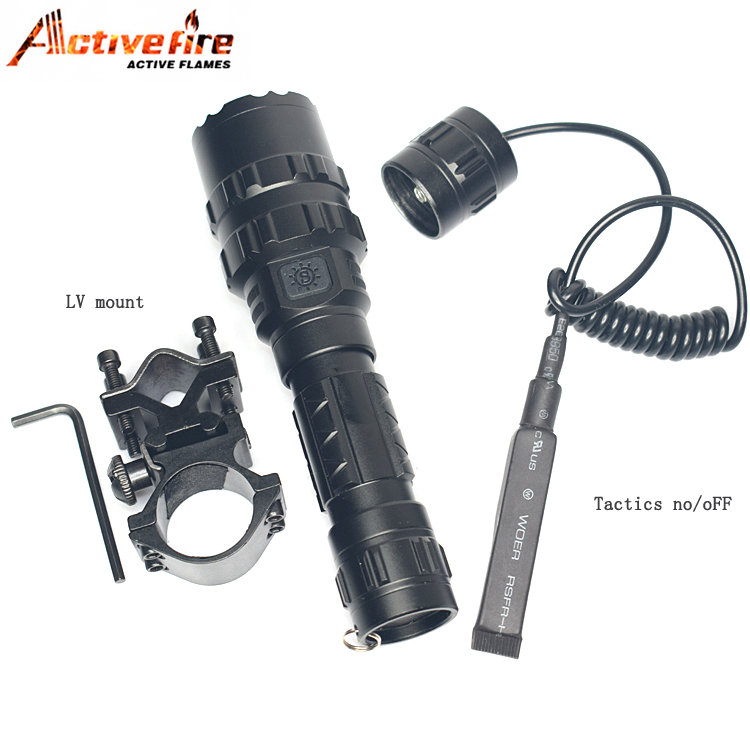 Купить с кэшбэком CREE T6 LED 3800LM Tactical torch Gun Mount+Remote Switch for Tactical Hunting Flashlight for Hunting Rifle Torch lighting Shot