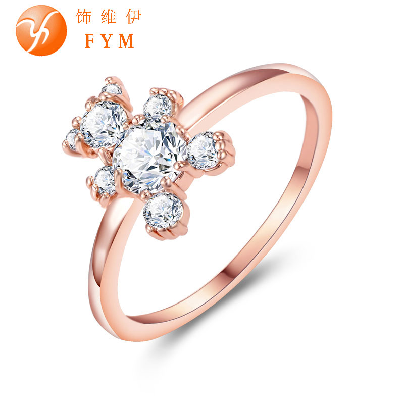 Lovely Cute Bear Ring Rose Gold Color Zircon Austrian Crystal Fashion Women Cocktail Finger Rings for Party Gift Wedding Girls