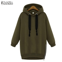 Zanzea 2015 Fashion Womens Long Sleeve Hooded Sport Loose Casual Warm Hoodies Sweatshirt 3 Colors Plus