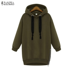 Oversized 2017 Spring Autumn Zanzea Womens Long Sleeve Hooded Loose Casual Warm Hoodies Sweatshirt 3 Colors Plus Size S-5XL