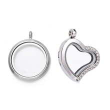 1pc DIY Living Memory Floating Charms Glass Diffuser Necklace Lockets Heart Magnetic Imitation Crystal Stainless Steel Pendants