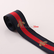 5Yards 38mm Bee Webbing Beautiful Cotton/polyester Canvas Webbings for Tape Bag Straps Belt key fobs bag Accessories