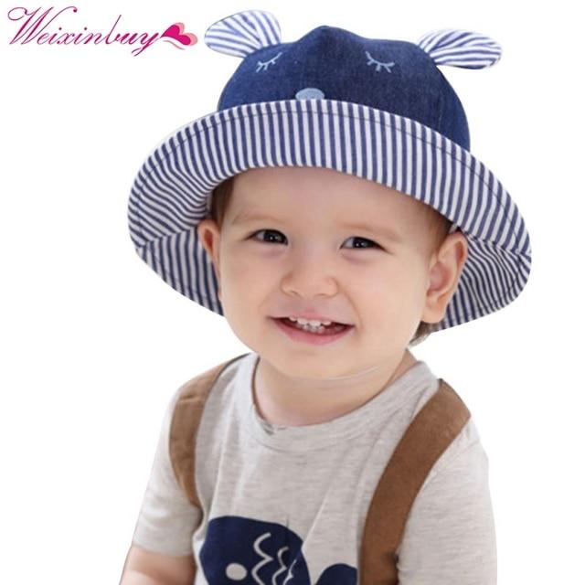 495f14ccb61 Toddler Bear Dark Blue Striped Cowboy Infant Hats Sun Cap Polka Dot Summer  Outdoor Baby Girl Hats Beach Bucket Sun Hat