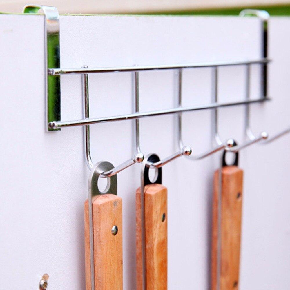 1 Pc 2017 5 Hooks Stainless Steel Clothes Hooks Door Bathroom Kitchen  Cabinet Draw Bedroom Towel Hanger Hanging Loop Organizer