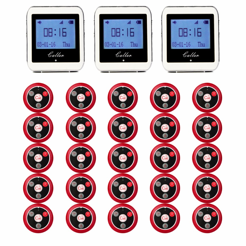 20pcs Call Transmitter Button+3 Watch Receiver 433MHz 999CH Restaurant Pager Wireless Calling System Catering Equipment F3285C restaurant pager wireless calling system 1pcs receiver host 4pcs watch receiver 1pcs signal repeater 42pcs call button f3285c