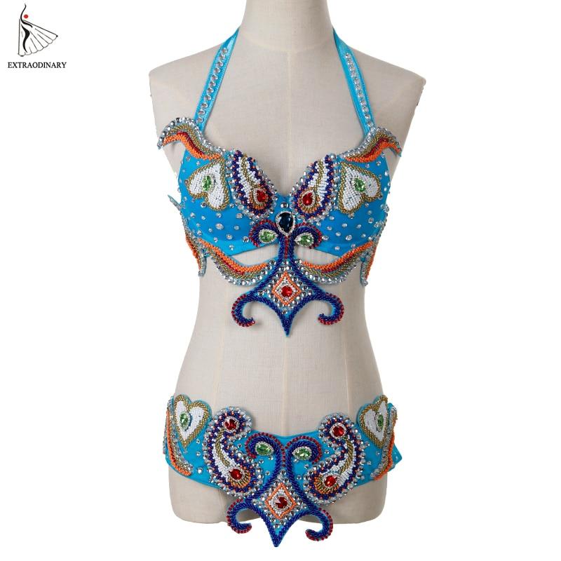 Women Oriental Belly Dancing Costume Bra Belt Beaded Top danse Egyptian orientale Belt Hip Scarf Dance Performance Luxury