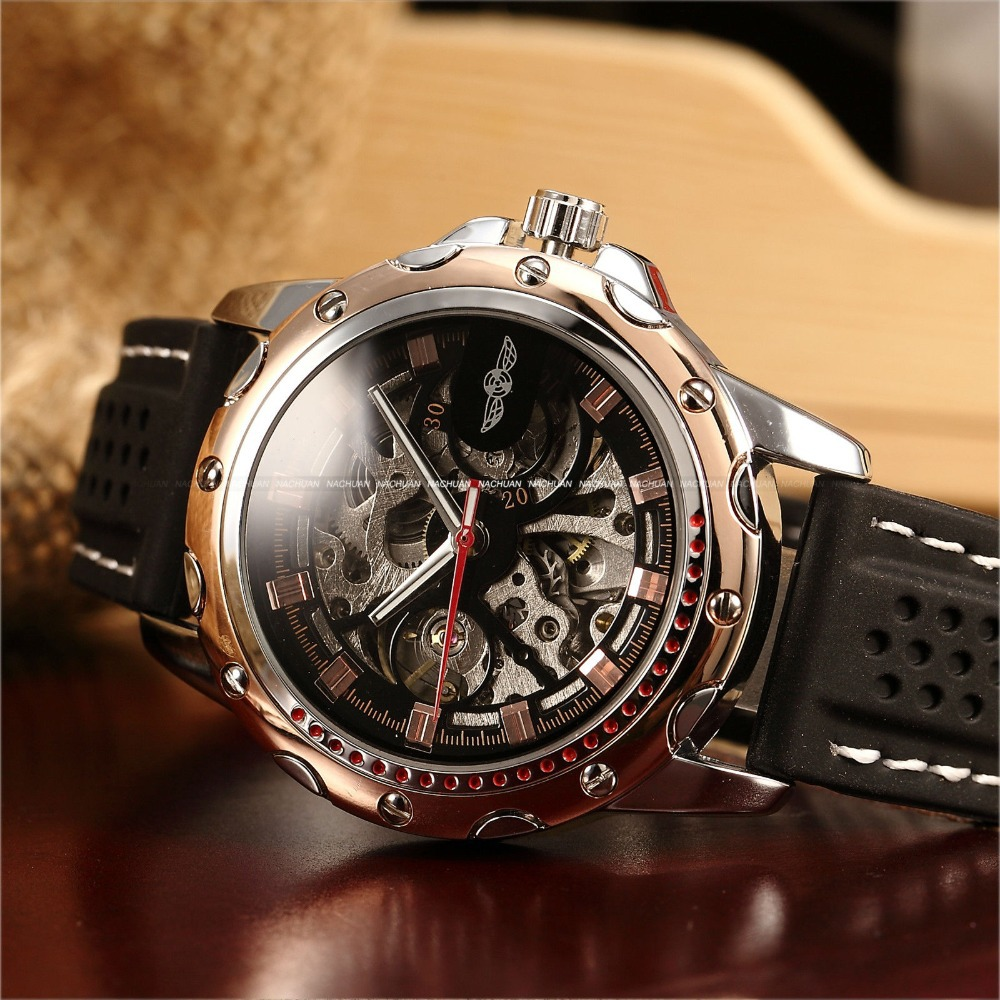 Classic Outdoor Golden Bezel Skeleton Mens Racing Sport Automatic Mechanical Black Rubber Silicone Strap Casual Self Wind Watch kings and queens mens mechanical skeleton watch gold bezel black leather strap kq bkgd