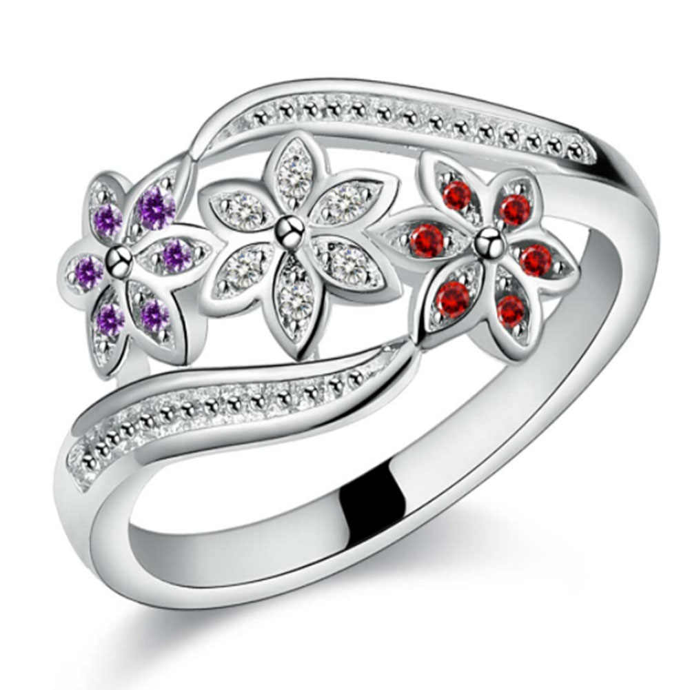 Funny Three Color CZ Crystal Flower Ring For Women Girls Fashion Silver Plate Ring Wedding Lady Jewelry Size 7 8 9