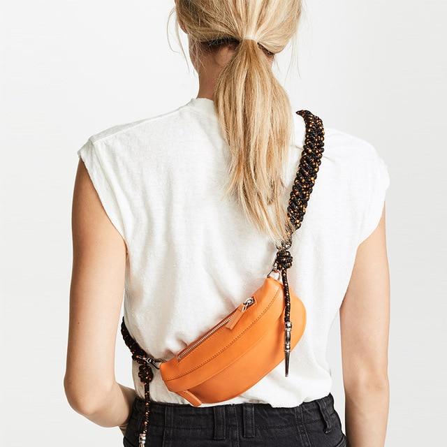 ae610a7a0 Women Chest Bags Fashion Weaving Belt Leather Messenger Bag Casual Shoulder  Bag Female Zipper Phone Wallet