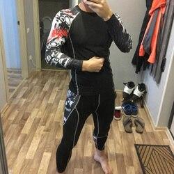 Термобелье, мужской костюм, компрессионный костюм, флисовые кальсоны, быстросохнущее термобелье, набор для бега, облегающий спортивный муж...