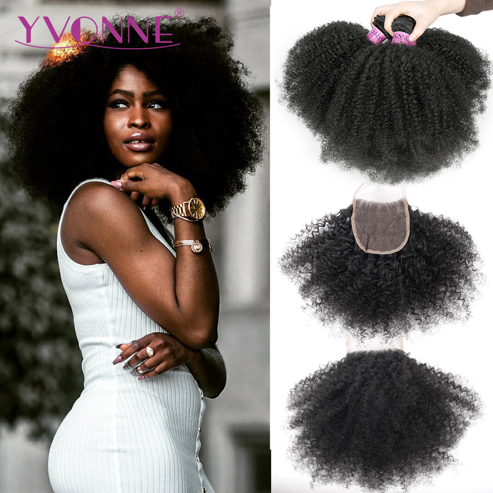 Yvonne 4A 4B Afro Kinky Curly Virgin Brazilian Human Hair Bundles With Closure 3 Bundles With Lace Closure 4x4