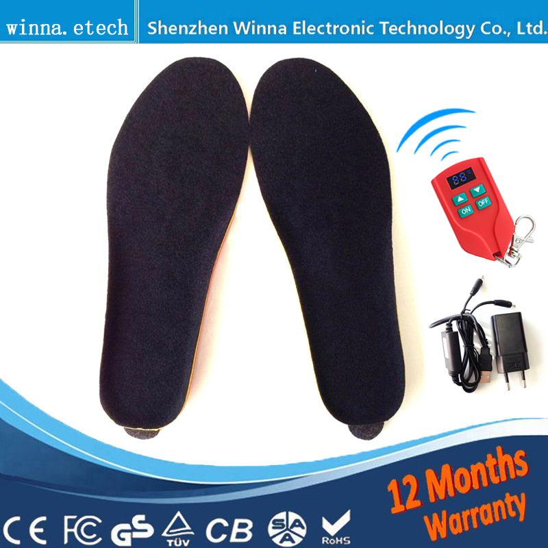 NEW Electric Heated Insole Winter Shoes Boots Pad With Remote Control black RED Foam Material EUR Size 35-46#2000MAH