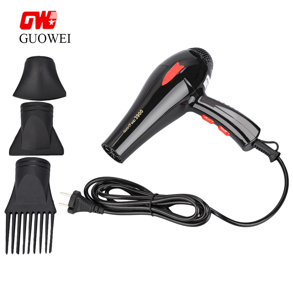 Guowei Electric Hair Dryer Powerful Electric Portable Compact Hair Dryer with 3 Nozzles for Household Traveller GW-3900