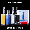 Ect et 30 p kit cigarro eletrônico 30 w box mod e-cigarros vaporizador vape mod hookah eletrônico starter kit e fumaça x9034