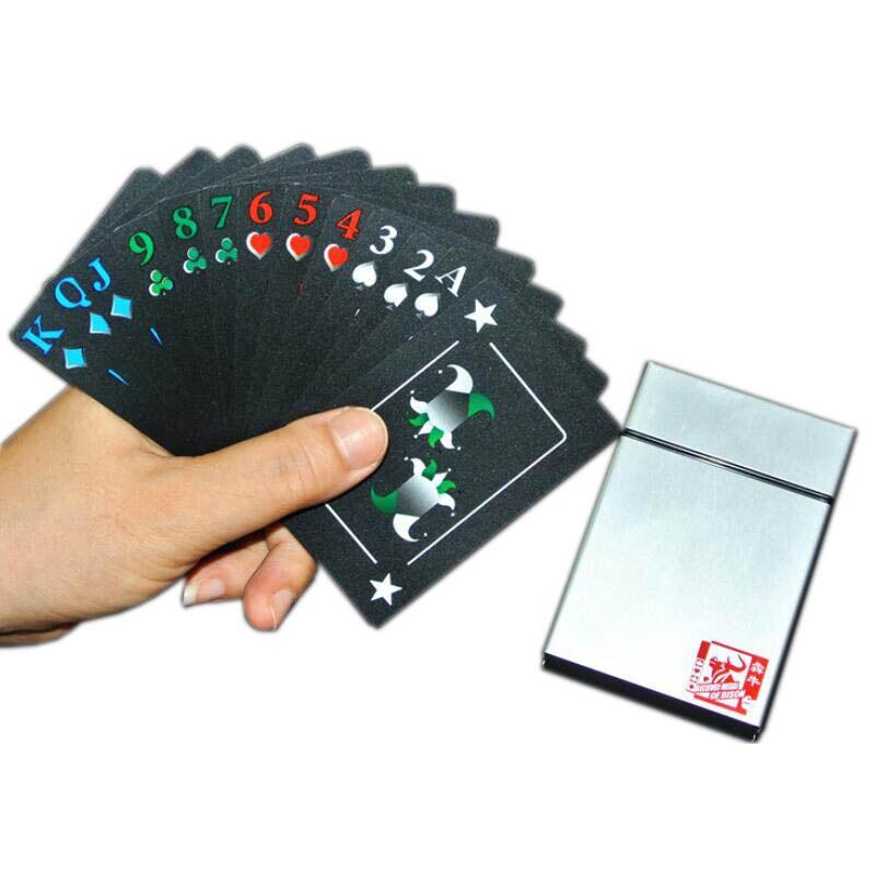 Caixa de alumínio De Plástico Cartas de jogar Poker Cartões De Jogo De Tabuleiro Jogo PVC Novidade Presente Coleção de Alta Qualidade À Prova D' Água Durável